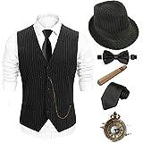 1920s Mens Costume Accessories Set - Fedora, Twvest-twbkhat, Size Large