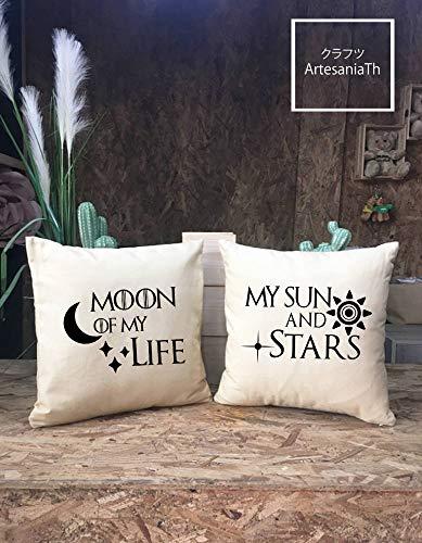 Claude6yhAly Moon of my Life My Sun and Stars - Juego de Funda de Almohada, Juego de Tronos, Regalo de Boda, Regalo para Pareja
