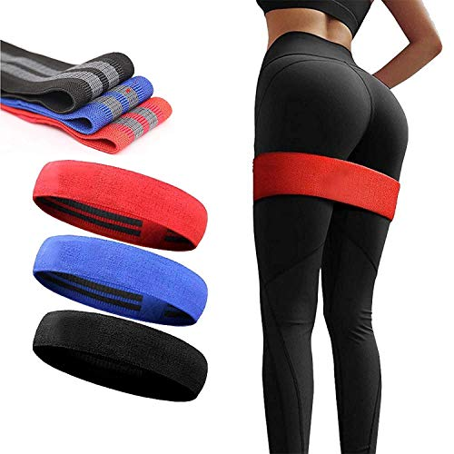 Slyk Non Slip Fabric Resistance Loop Bands for Squat Legs Butt Thighs Hip Glutes Yoga Pilates Workout Exercise Fabric Bands for Men Women (Medium - 14.5 inch)