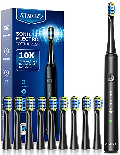 ATMOKO Electric Toothbrush with 10 Duponts Brush Heads