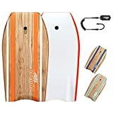 THURSO SURF Quill 42'' Bodyboard Lightweight Durable EPS Core IXPE Deck HDPE Slick Bottom FRP Stringer Crescent Tail Dual Channel Plastic Mesh with Double Swivel Coiled Wrist Leash (Tangerine)