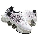 MIAOR Patines Ajustables Quad Roller Boots, Patines para Mujeres Patines en línea para niñas, Patines de Ruedas Zapatillas Ajustables Patines Unisex