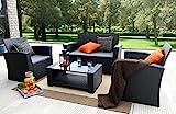Baner Garden 4 Pieces Outdoor Furniture Complete Patio Cushion Wicker P.E Rattan Garden Set, Full, Black