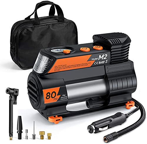 Tire Inflator 12V DC Digital Auto Tire Inflator M2(Orange) Portable Air Compressor Pump with Digital Pressure Gauge for Cars Bikes and Other Inflatables