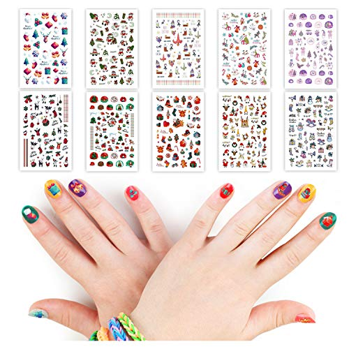 Leesgel 450pcs Christmas Nail Decals, Christmas Nail Stickers Art Nail Stickers for Acrylic Nails, Nail Decorations Designs for Kids Women (10 Sheets)
