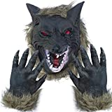 Lynkaye Holloween Horror Mask Party Cosplay Costume Werewolf Dress Up Mask - Wolf Head Mask and Claws Grey