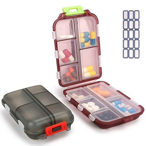 2PCS Travel Pill Organizer, Portable Pill Case, Pill Box Dispenser, with 10 Compartments for Different Medicines
