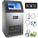 VEVOR 110V Commercial Ice Maker 120LBS/24H, 510W Ice Machine with 29LBS Storage Capacity, 50 Ice Cubes Ready in 11-15Mins, Stainless Steel Construction, Includes Water Filter and Connection Hose