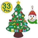 jollylife 3ft DIY Felt Christmas Tree Set + Snowman Advent Calendar - Xmas Decorations Wall Hanging 33 Ornaments Kids Gifts Party Supplies