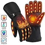 OYRGCIK Heated Gloves, Winter Gloves for Men Women 3 Levels Temperature Control Hand Warmers Waterproof Thermal Gloves for Snow Cold Weather Sports Outdoors Climb Hiking Skiing Hunting Fishing