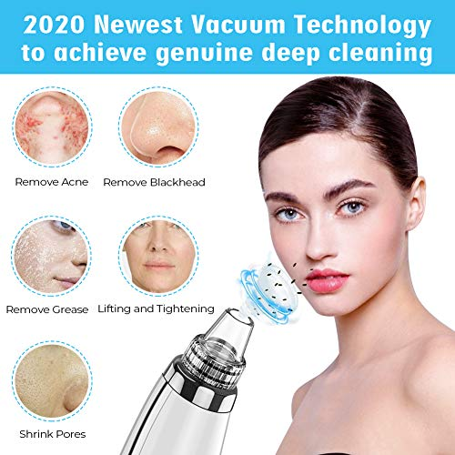2020 Upgraded Blackhead Remover Pore Vacuum - Electric Pore Cleaner, 5 Adjustable Suction Power & 5 Replacement Probes, USB Rechargeable & LED Display, Blackhead Extractor Tool for Women and Men 5