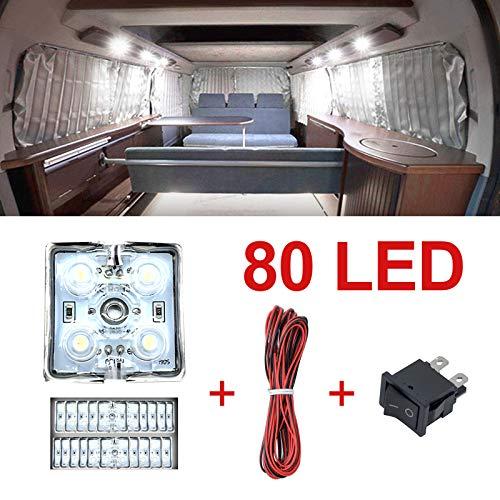 Ruesious LED Striscia Interni Auto Luci Lampadine Plafoniera 12V 80 LED Modulo Bianco per Camper...