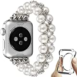 fastgo Compatible with Apple Watch Band Pearl 38mm 40mm,Women Girls Fancy Handpicked Artificial Pearl Elastic Stretch Bracelet Jewelry Wristband for Iwatch SE Series 6/5/4/3/2/1(Pure White, 38mm/40mm)