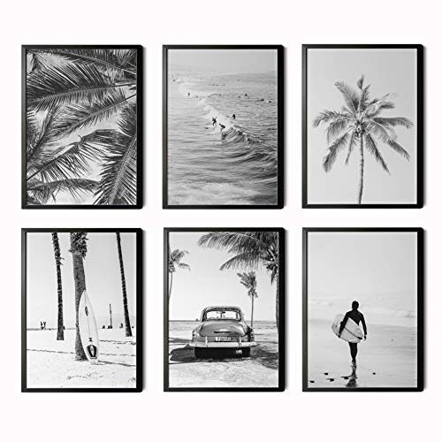 Decorative films for living room, dining room, bedroom, hallway.  Set of 6 Modern Black and White Posters DIN A4 size.  Frameless.