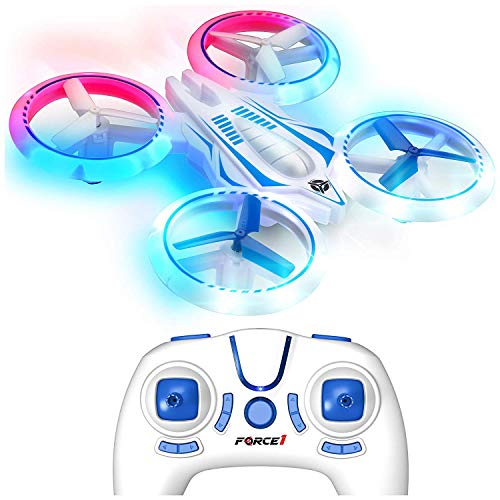 Force1 UFO 4000 Mini Drone for Kids - LED Remote Control Drone, Small RC Quadcopter for Beginners with LEDs, 4-Channel Remote Control, 2 Speeds, and 2 Drone Batteries