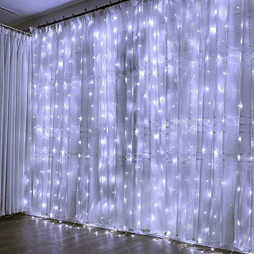 Creashine Tenda Luminosa Natale Catene Luminose Luci LED Tende con 8 Modalit di Illuminazione per Esterno/Interno, Addobbi Natalizi per la Casa,Camera da Letto,Giardino(Bianco freddo)