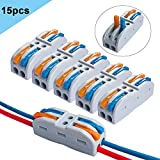 QitinDasen 15Pcs Premium SPL-2 Palanca Tuerca Cable Conector Set, 2 Vía 4 Puerto Conductor Compacto Cable Conector, Rápido Resorte Conector Bloque Terminal (Palanca Multicolor)