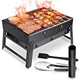 WOSTOO Barbecue à Charbon,Portable Barbecue Charbon de Bois BBQ Grille Mini Pliable Charcoal Barbecue Picnic Jardin Camping Party Beach Outdoor(Noir)