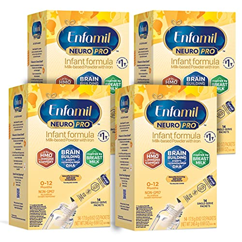 Enfamil NeuroPro Baby Formula, Triple Prebiotic Immune Blend with 2'FL HMO & Expert Recommended Omega-3 DHA, Inspired by Breast Milk, Non-GMO,0.62 Oz packets, 14 count, Pack of 4, (Packaging May Vary)