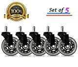 BF BRIGHTFIELD Universal Office Chair Caster Wheels Set of 5 Heavy Duty & Safe for All Floors Including Hardwood 3' Rollerblade Rubber Replacement for Desk Floor Mats