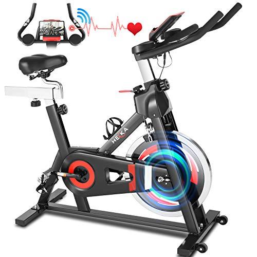 HEKA Heimtrainer Fahrrad, 20kg Schwungrad Hometrainer, Spinning Bikes Fitnessbikes mit Verstellbarer...