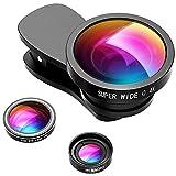 VicTsing Obiettivi Smartphone 3-in-1 Kit Clip-on Lenti Fisheye 180° + Grandangolo 0.4X + Macro 10X +2 Clips Lente Cellulari per iPhone 8/7/6S/5S, Galaxy,...