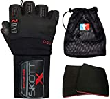 skott Evo 2 X-Edition Weight Lifting Gloves with Storage Bag & 2 Grip Pads - Genuine Leather Padded Workout Gloves for Full Palm Protection - Ultra Durable Gym Accessories for Exercise
