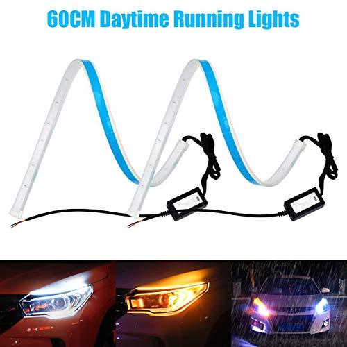 YANF - Striscia di luci LED DRL a doppio colore bianco con sequenza di luci diurne flessibili per luci di posizione diurne e indicatori di direzione, confezione da 2 pezzi