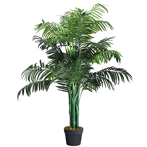 Goplus 3.5FT Fake Palm Tree Artificial Greenery Plants in Nursery Pot Decorative Trees for Home, Office, Lobby
