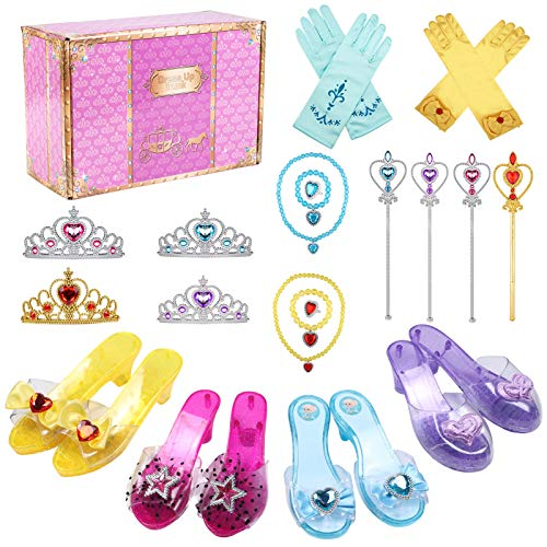 Tacobear Zapatos Princesa Niñas Princesa Disfraz Accesorios con Princesa Collar Corona Guantes Varita Mágica Pulsera Anillo Princesa Joyas para Niñas Carnaval Halloween