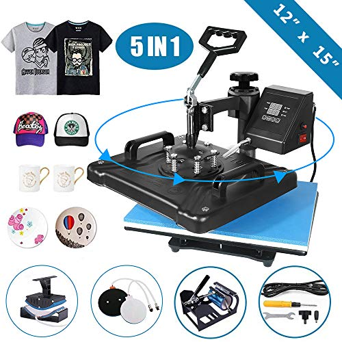 5 in 1 Heat Press Machine 12'x 15' inch Professional Digital Transfer Sublimation Swing-Away for Hat Mug Plate Cap T-Shirt (12'x 15' (5 in 1) Swing Away)