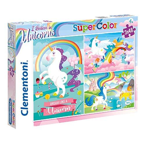 Clementoni-Clementoni-25231-Supercolor-Unicorno Brilliant-3 x 48 pices Puzzle Unicorno-3x48 Pezzi,...