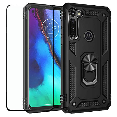 Strug for Moto G Stylus Case,Hybrid Armor Heavy Duty Shockproof Protection Built-in 360 Rotatable Ring Magnetic Car Mount Case with Tempered Glass Screen Protector for Motorola Moto G Stylus-Black