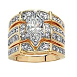 18K Yellow Gold over Sterling Silver Marquise Cut Cubic Zirconia 3 Piece Mutli Row Bridal Ring Set...