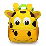 Hipiwe Little Kid Toddler Backpack Baby Boys Girls Kindergarten Pre School Bags Cute Neoprene Cartoon Backpacks for Children 1-5 Years Old,Size 9.45'x3.54'x9.84'(Giraffe)