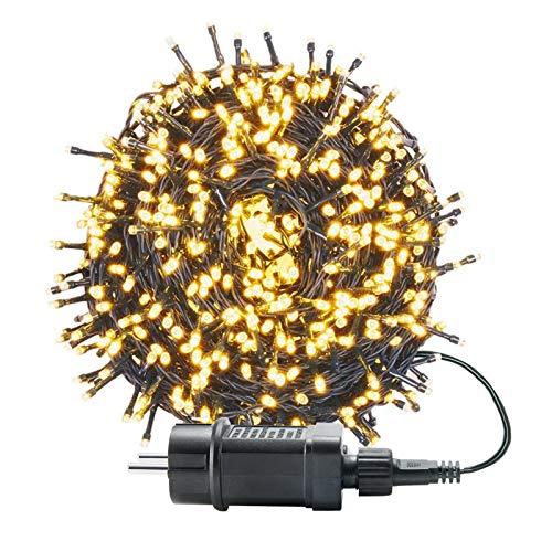 UISEBRT 50m 500 LED Lichterkette Außen Innen Dekoration für Weihnachten, Ostern, Halloween, Hochzeit, Party, mit 8 Leuchtmodi, Wasserdicht IP44 (50m 500LED, Warmweiß)