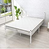 HCHDMENT Bed Frame Metal Platform Mattress Foundation Box Spring Replacement with Headboard Footboard, (Full, White)
