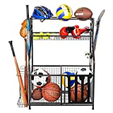 PLKOW Sports Equipment Storage for Garage, Indoor/Outdoor Sports Rack for Garage, Ball Storage Garage Organizer with Basket and Hooks,Toy/Sports Gear Storage (Black)