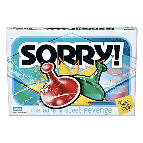 Sorry! Board Game for Kids Ages 6 and Up; Classic Hasbro Board Game; Each Player Gets 4 Pawns (Pawn Colors May Vary) – Amazon Exclusive (Toy)