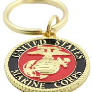 EEC, Inc. US Marine Corps Logo Keychain Patriotic Key Ring Military Gift Men Women Veteran,Red,1 1/2″