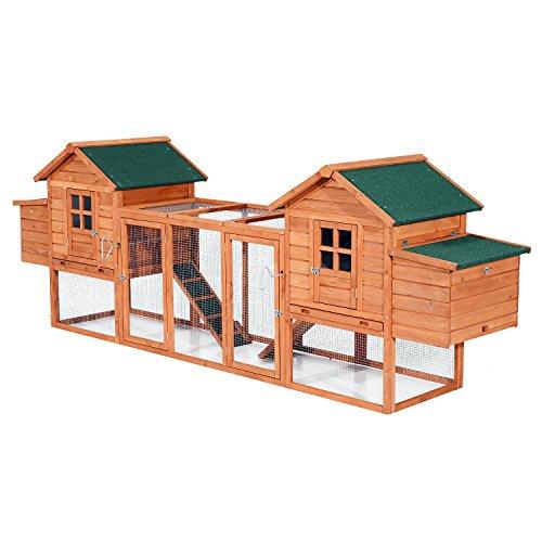 "PawHut 124"" Dual Backyard Chicken Coops Nesting Boxes"