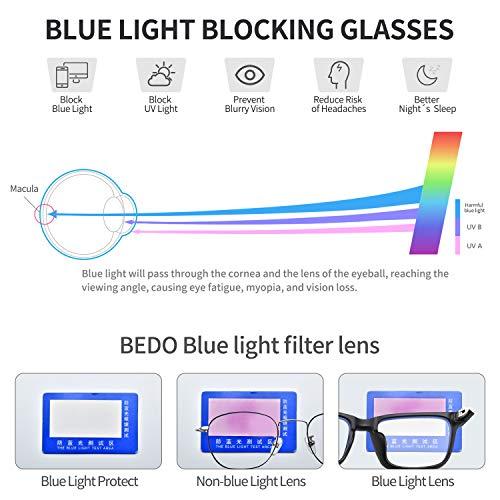 BEDO Kids Anti Blue Light Glasses Classic Rectangle Eyewear for 7-12years Child