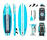iROCKER All-Around Inflatable Stand Up Paddle Board 11' Long 32' Wide 6' Thick SUP Package (Aqua 2019)