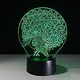 3D hermoso pavo real abierto Animal pájaro lámpara decoración del hogar lámpara de mesa luz de noche LED Peafowl Splendid Tail regalo para niños