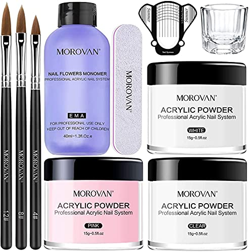 Morovan Kit Acrylique Ongles 3 Couleurs...