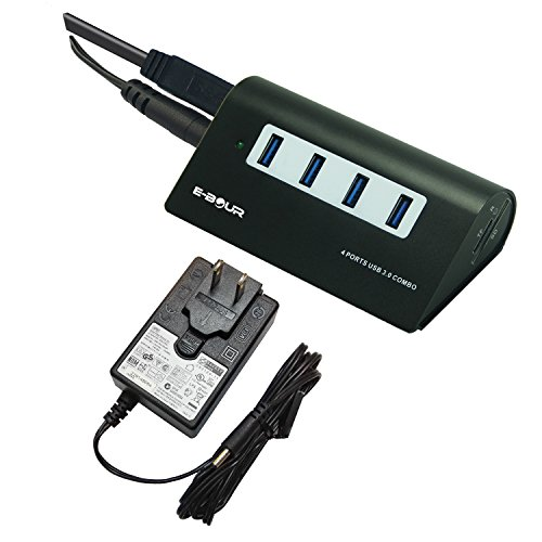 E-BOUR 4 Ports USB 3.0 USB Hub 5Gbps with 5v 4a 20w charger Powered Adapter Combo converter Black