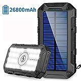 FKANT Chargeur Solaire 26800mAh Batterie Externe Portable avec 3 Port Sortie et Chargeur sans Fil avec 28 LED...
