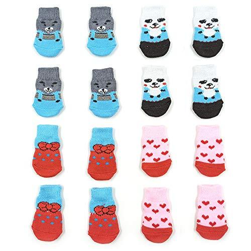 NA/4 paia di calzini antiscivolo per cani e gatti con rinforzo in gomma, protezione per animali domestici, per pavimenti in legno, per uso interno (S)