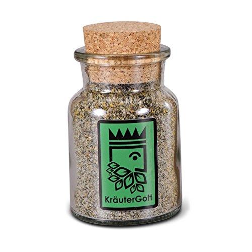 Wildkräutersalz mit 50% Kräuteranteil - Original und handgefertigt von KräuterGott - 90g im edlen Korkenglas