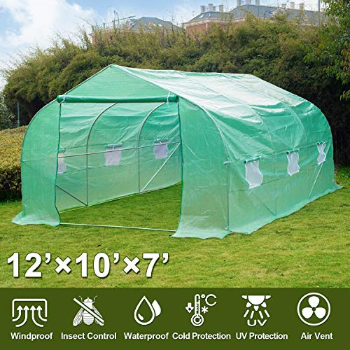 Greenhouse, 12' X 10' X 7' Portable Green Houses Tunnel Tent, Large Walk-in Heavy Duty Green Garden Plant Hot House Roll-up Windows, Zippered Door, 4 Stakes, 4 Ropes